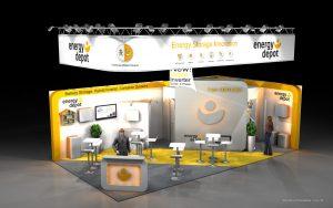 Vizualizace expozice Energy depot Intersolar s kobercem